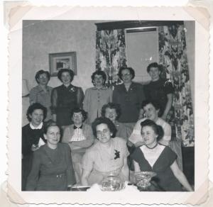 Back-Florence Morris, Meta Tone, Marie Widmeyer (x) (x) Middle-Mamie Rowan, Del Schneider, Ruby Grein, Jean Widmeyer, front- Tweed Widmeyer, (x) Marg Schenk