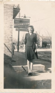 Merle Derbecker-Lynch in front of Paddy's Place (1940's)