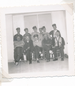 back, Buster Doersam, Ernie Hahn, (x) Bill Brusso, Arnie Schneider, Cyril Tone, front, (x) (x) Bun Widmeyer, Herman Grein, Dick Schenk
